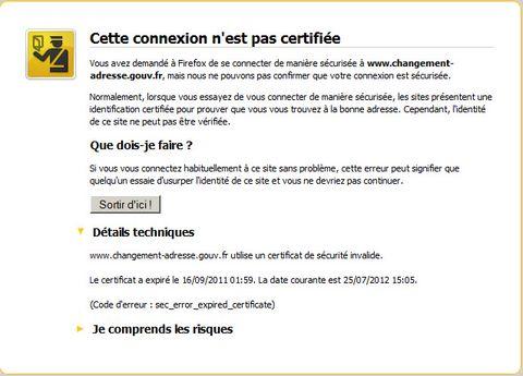 cette connexion n 39 est pas certifi e utilise un certificat de. Black Bedroom Furniture Sets. Home Design Ideas